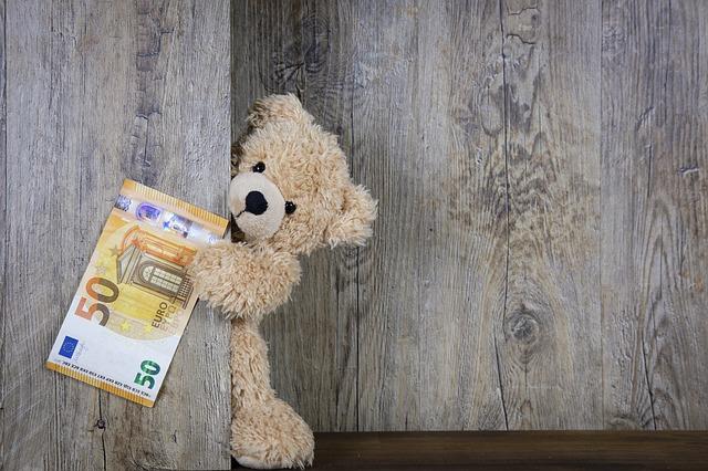 お金を持つクマのぬいぐるみ