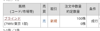 立川ブラインド工業(7989)クロス取引